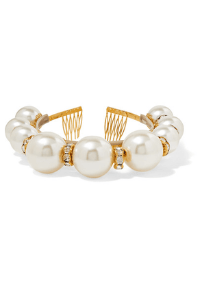 Dolce & Gabbana - Gold-tone, Faux Pearl And Crystal Headband - White