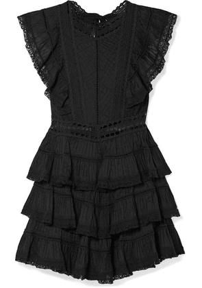 Zimmermann - Juniper Lace-trimmed Tiered Pintucked Cotton-voile Mini Dress - Black