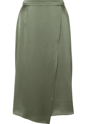 Vince - Wrap-effect Draped Silk-satin Skirt - Army green
