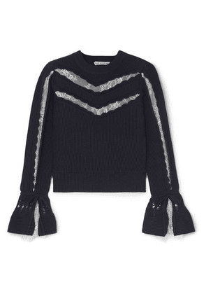 Self-Portrait - Lace-trimmed Ruffled Cotton And Wool-blend Sweater - Navy