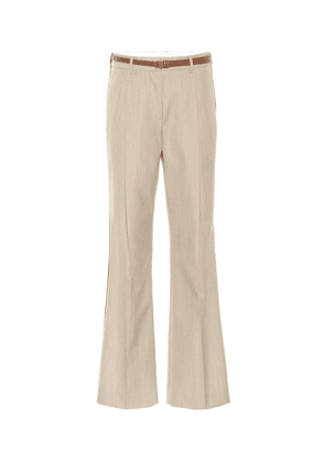 Leather-trimmed wool pants