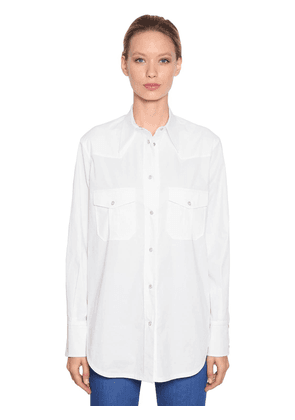 Long Cotton Blend Western Style Shirt