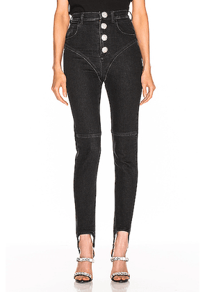 Alessandra Rich High Waisted Crystal Button Stirrup Jean in Black - Black. Size 26 (also in 24,25,27,29).