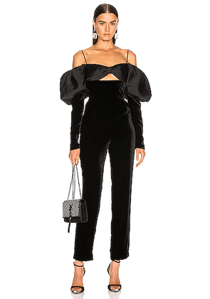 RASARIO Puff Sleeve Jumpsuit in Black - Black. Size 36 (also in 38,40).
