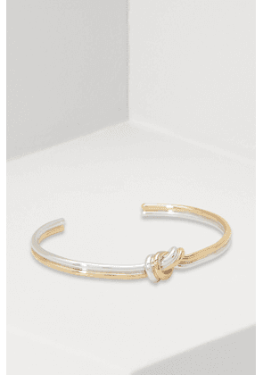 Knot double bracelet in gilded brass and rhodium