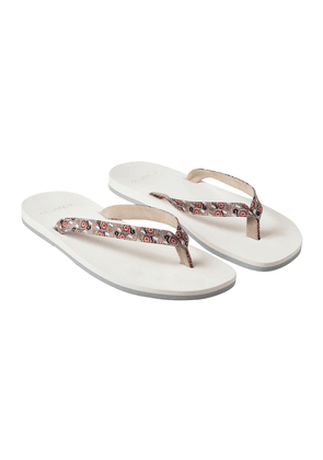 Red, Pink and Grey Fantasy-Print Satin and Suede Resort Flip-Flop