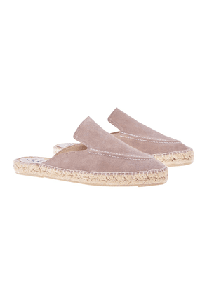 Vintage Taupe Suede Hamptons Loafer Mules
