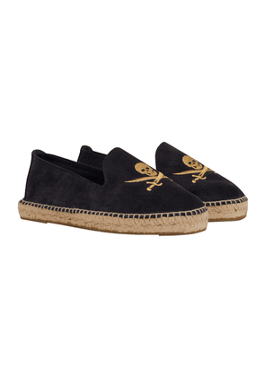 Maneb x The Rake Navy Suede Hamptons Espadrilles with Gold Death's Heads