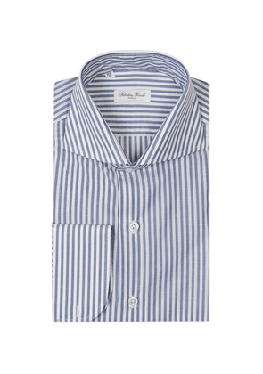 White and Blue Cotton Bold Stripe Shirt