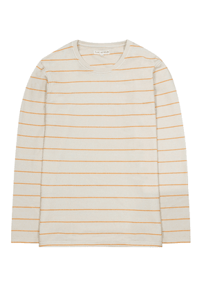 Ecru Striped Cotton Long Sleeved Top