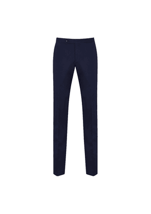 Blue Cotton Pleated-Front Trousers