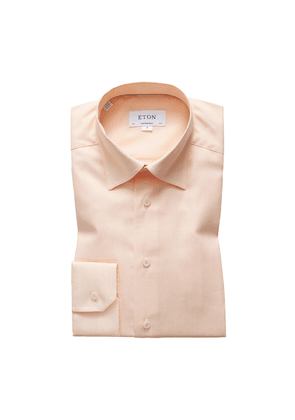 Orange Cotton Dobby-Weave Contemporary Shirt
