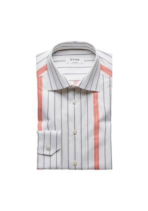 Navy, Orange and White Cotton-Twill Contemporary Shirt