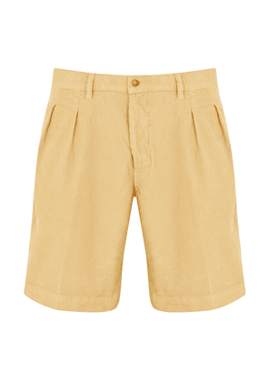 Beige Cotton Corduroy Pleated Shorts