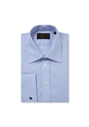 Blue and White Cotton St James Collar Double-Cuff Branston Shirt