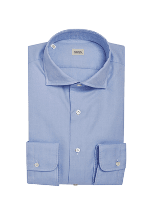 Light Blue Cotton Shirt with Small French Collar