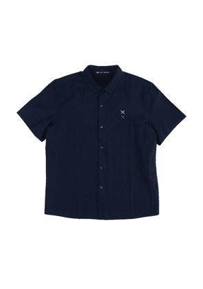 Navy Cotton Shirt with Short Sleeves and Hand Embroidery
