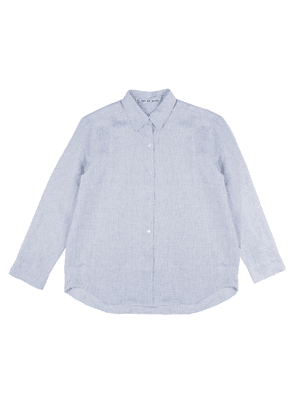 Blue Linen Shirt with Hand-Embroidered Flower