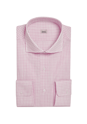 Pink Check Cotton Shirt with Semi-Spread Collar