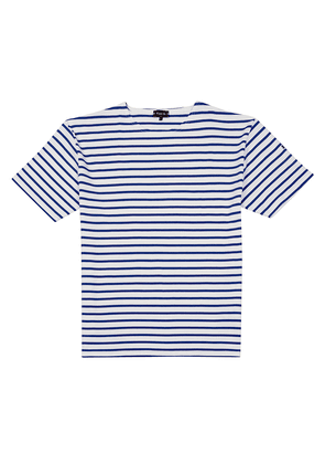 Royal Blue and White-Striped Thick Cotton Do lan T-Shirt