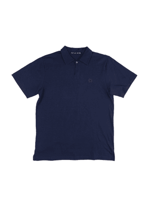 Navy Cotton Polo with Floral Embroidery