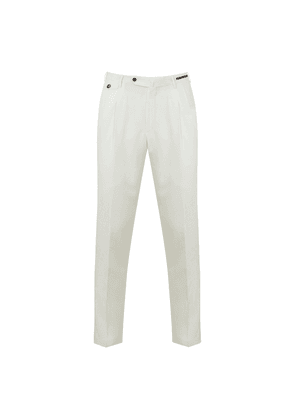 White Wool Pleated Trousers