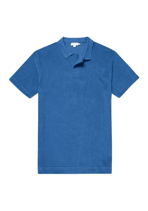 Mid-Indigo Organic Cotton Towelling Relaxed Fit Polo Shirt