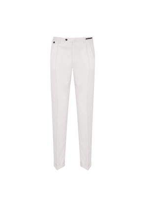 White Wool Lined Pleated Business Trousers