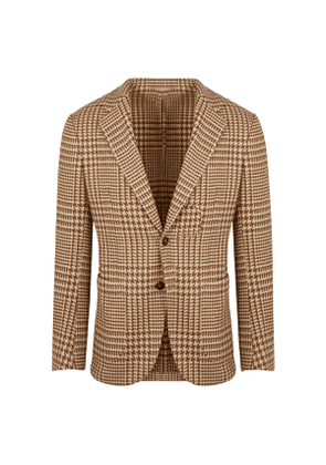 Beige Wool Hound's Tooth Single-Breasted Anacapri Jacket