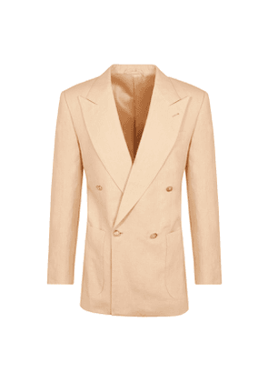 Sand Linen Double-Breasted Jacket