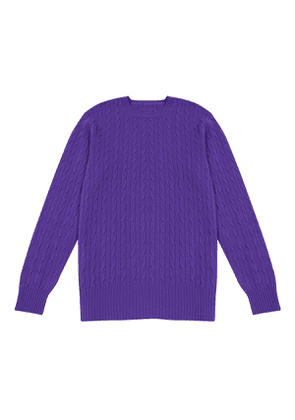 Purple Lambswool Cable-Knit Sweater