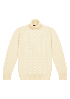 Cream Virgin Wool Cable-Knit and Ribbed Sweater