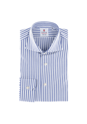 Blue and White Broad Oxford-Striped Handmade Shirt