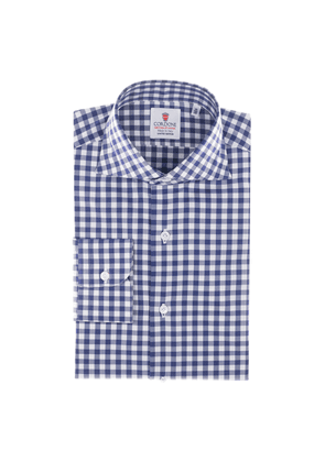 Azure Blue and White Checkered Cotton-Twill Shirt