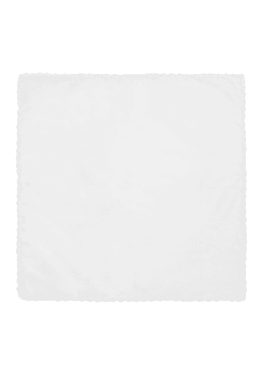 White Cotton Poplin Embroidered Pocket Square