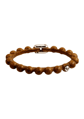 Brown Hand-Treated Lasered Leather Bracelet
