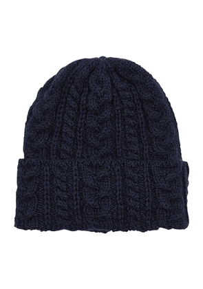 Navy Cable-Knit Wool Beanie