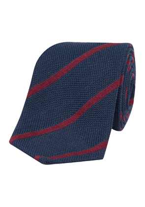 Navy and Bordeaux Striped Mixed-Weave Cashmere-Silk Loira Tie