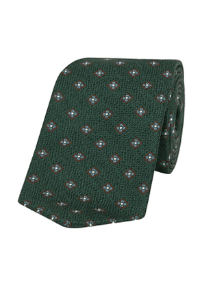 Ivy Green and Blue Daisy-Patterned Basket-Weave Taro Silk Tie