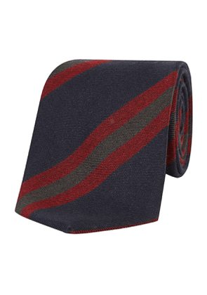 Red, Grey and Navy Varsity Striped Plain-Weave Cashmere Laos Tie