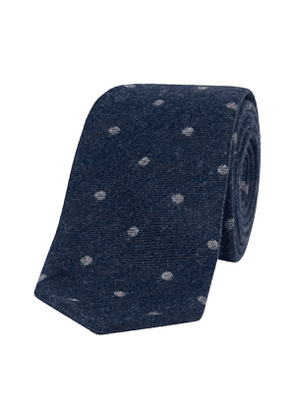 Navy and Grey Spot-Patterned Wool Cuba Tie