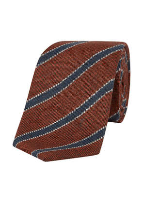 Terracotta and Navy Asymmetric Striped Knitted Cuba Tie