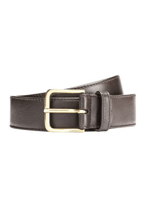 Brown Leather Belt with Golden Buckle