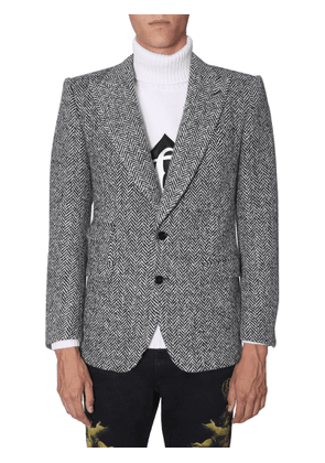 dolce & gabbana two buttons herringbone jacket