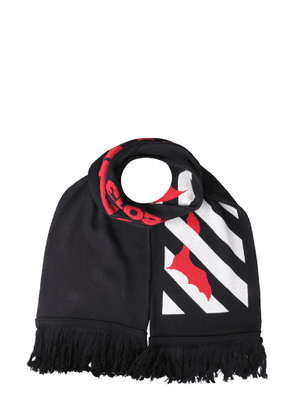 off-white bats scarf with fringes