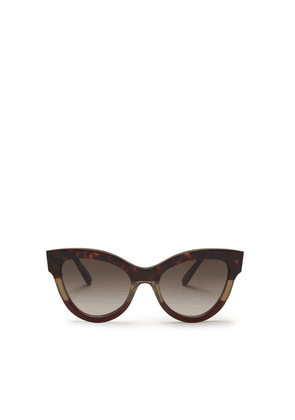 Mulberry Christy Sunglasses in Havana Green and Crimson Acetate