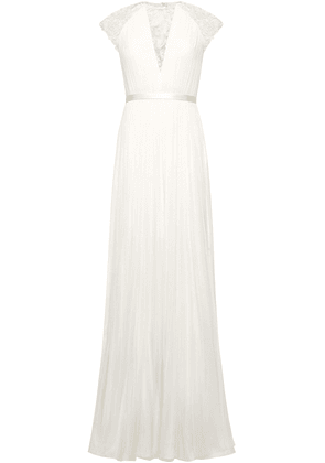 Catherine Deane Lace-paneled Pleated Silk Bridal Gown Woman Ivory Size 10