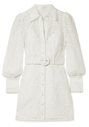 Zimmermann - Belted Broderie Anglaise Cotton Mini Dress - White