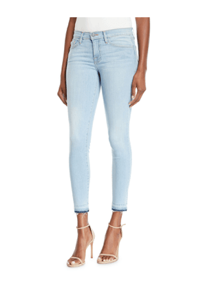 Skinny Two Tone Jeans With Double Zip Detail