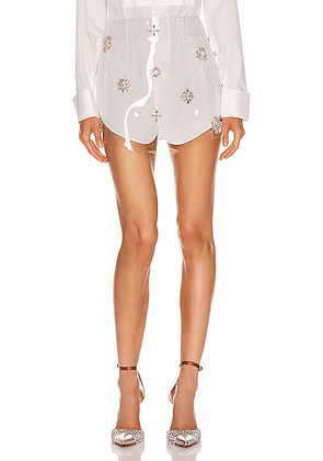 AREA Embroidered Skirt in White - White. Size L (also in ).